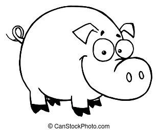 uśmiechnięty szczęśliwy, szkic, świnia