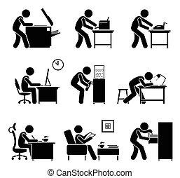 używając, biuro, workplace., equipments, pracownicy