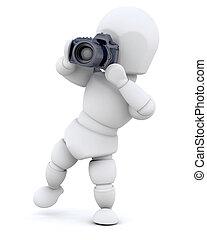 używając, człowiek aparatu fotograficzny
