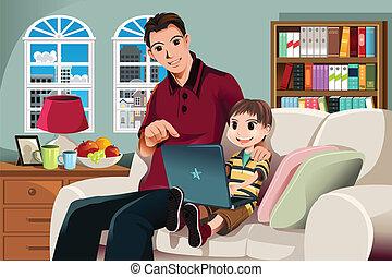 używając komputer, ojciec, syn