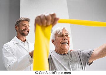 używając, terapia, pacjent, bandy, fizjoterapia, fizyczny