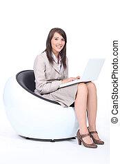używający laptop, kobieta, komputer, młody