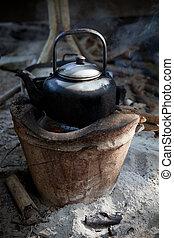 używany, stary, potok, piec, czajnik, woda, tradycja