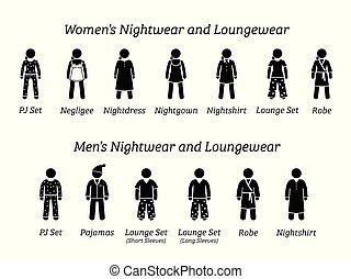 ubranie nocne, fason, designs., mężczyźni, loungewear, kobiety