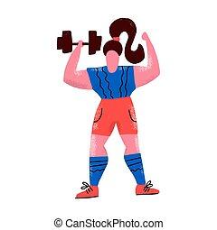 ubranie sportowe, płaski, samicza kobieta, pociągnięty, poza, pracujący, atleta, biały, rysunek, ręka, tło, bodybuilding., character., ciężki, atletyka, styl, ilustracja, sportsmenka, dumbbell., training.