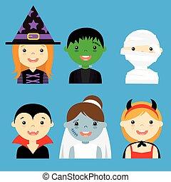 ubrany, hallowe, avatar, dzieci