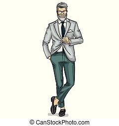 ubrany, wzór, wektor, człowiek