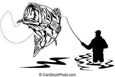 uchwyt, rybak, bas