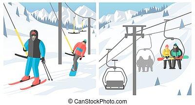 uciekanie się, gondola, wektor, posiedzenie, ludzie, elewatory, skok, sport, odpoczynek, snowboard, snowboarder, zima, góra, ilustracja, dźwig, podnoszenie, narta