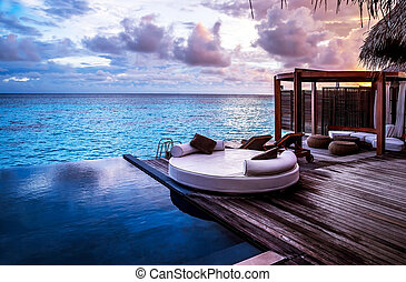 uciekanie się, plaża, luksus