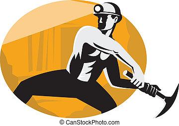 uderzający, górnik, węgiel, retro, wydłubcie ax