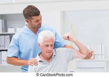 udzielanie, fizyczny, człowiek, terapia, fizykoterapeuta
