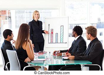udzielanie, prezentacja, kobieta interesu