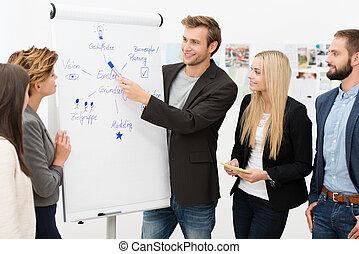 udzielanie, prezentacja, lider, drużyna