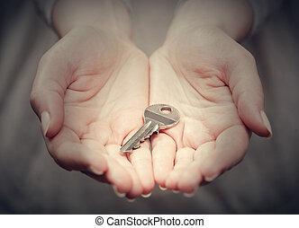 udzielanie, wręczać gest, klucz, kobietki