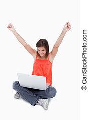 uiszczenie, jej, laptop, znowu, nastolatek, pokaz, za, rodzynek