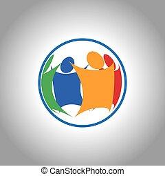 ujednolicony, grupa razem, ludzie