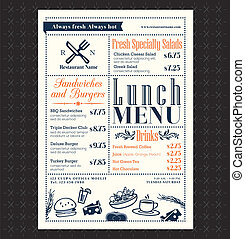 układ, restauracyjny jadłospis, ułożyć, lunch, projektować, retro