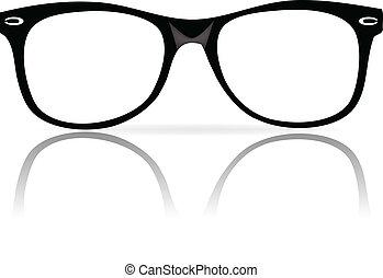 układa, czarnoskóry, okulary