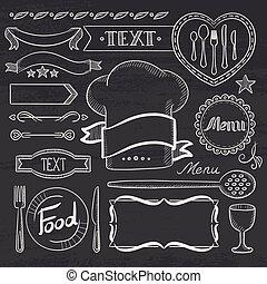 układa, komplet, menu., wstążki, restauracja