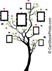 układa, wektor, drzewo, rodzina