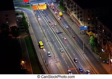 ukraina, miasto, antena, kyiv, noc, prospekt