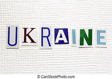ukraina, słowo, handmade, struktura, papier, biały