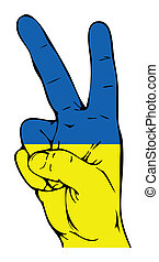 ukrainiec, znak, pokój, bandera