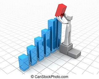 ulepszenie, wzrost, finansowy, rozłączenie, albo