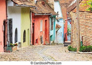 ulica, średniowieczny, zakładany, colonists, sighisoara, saxon, prospekt