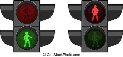 ulica, equipment., intersection., lamps., pieszy, light., przejście dla pieszych, handel, 3d, pieszy, realistyczny, semaphores, bezpieczeństwo, regulacja, stoplights, urządzenie, czerwona droga, crossing., wektor, zielony