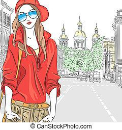 ulica, modny, st., korona, wektor, petersburg, bluzka, dziewczyna, okulary, czerwony, pociągający
