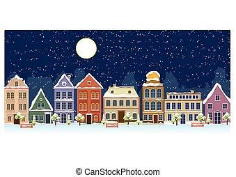 ulica, stary, krajobraz., szczęśliwy, rok, boże narodzenie, zima, nowy, miasto, wesoły