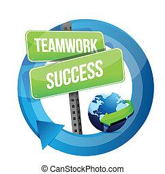 ulica, teamwork, powodzenie, znak