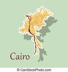ulice, mapa, miasto, rzeźnik, egipt, kair, prospekt