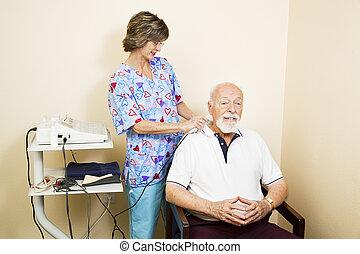 ultradźwięk, starszy człowiek, terapia