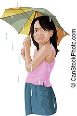 umbrella., dziewczyna, wektor