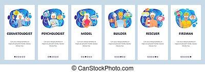 umiejscawiać, sieć, website, kariera, projektować, ilustracja, screens., płaski, wektor, menu, firefighter., ruchomy, szablon, zawód, app, zbudowanie, onboarding, pracownik, chorągiew, ludzie, development., wzór