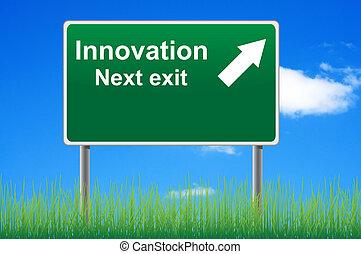 underneath., niebo, znak, tło, innowacja, trawa, droga