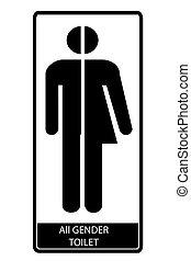 uniwersalny, znak, symbolika, prosty, wektor, toaleta