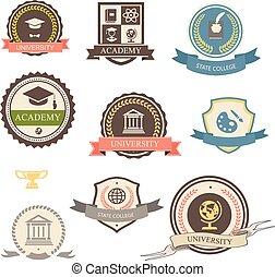 uniwersytet, akademia, heraldyczny, emblematy, kolegium, logo