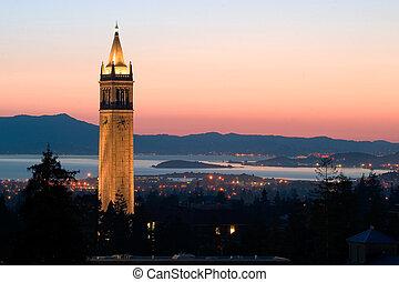 uniwersytet, berkeley, wieża, sather