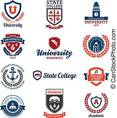 uniwersytet, kolegium, emblematy
