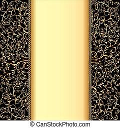 upiększenia, tekst, pas, złoty, tło