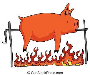 upieczony, cypel, świnia