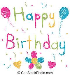 urodzinowa karta, szczęśliwy