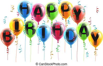 urodziny, balony, szczęśliwy