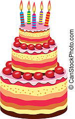 urodziny, cielna, wektor, ciastko