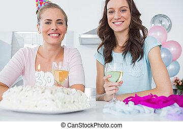 urodziny, kobiety, ciastko, radosny