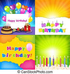 urodziny, komplet, karta, szczęśliwy